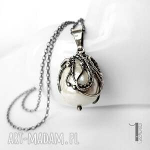 szare naszyjniki perła niezwykły naszyjnik, wykonany w całości ręcznie