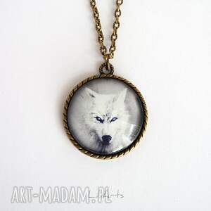naszyjniki naszyjnik medalion, biały wilk