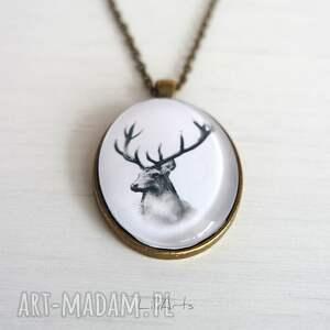 niepowtarzalne naszyjniki medalion, naszyjnik - jeleń