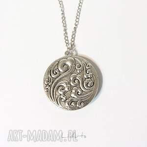 srebrne naszyjniki medalion, naszyjnik - biała