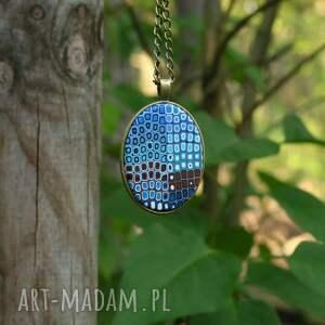 łańcuszek naszyjniki turkusowe medalion, naszyjnik