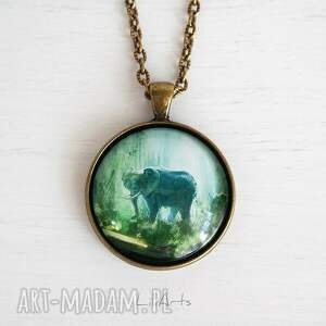 atrakcyjne naszyjniki naszyjnik medalion, słoń, dżungla
