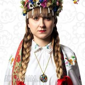 niepowtarzalne naszyjniki folk medalion okrągły ludowy