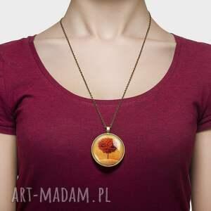 ręcznie zrobione naszyjniki natura medalion okrągły słoneczne drzewo