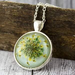 naszyjniki wisior medalion z prawdziwym kwiatem