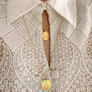 hand made naszyjniki symbol medalion z różowego złota lotosem