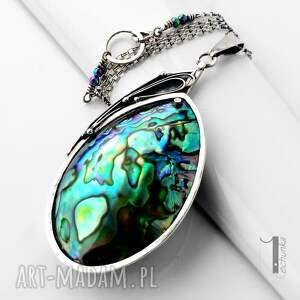 metaloplastyka naszyjniki zielone mermaid heart srebrny naszyjnik