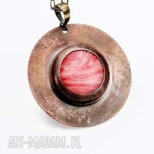 miedziany-medalion naszyjniki miedziany medalion z rodonitem na