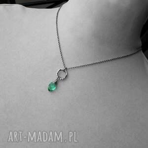 kolorowy-naszyjnik naszyjniki zielone miętusek w srebrze- naszyjnik.