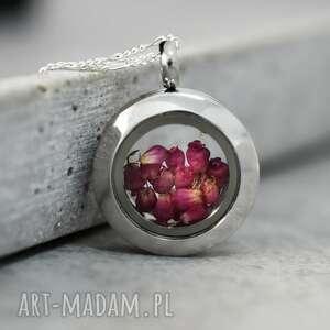 różowe naszyjniki wrzos 925 mini srebrny łańcuszek