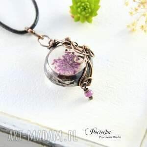 różowe naszyjniki miedź miranda- naszyjnik z prawdziwym