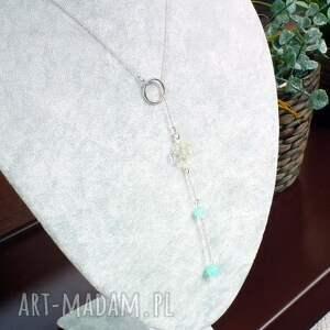 niebieskie naszyjniki srebrny modny naszyjnik