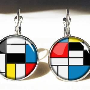 ręcznie wykonane naszyjniki kwadraty mondrian - medalion z łańcuszkiem