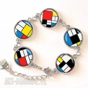 mondrian naszyjniki kolorowe - medalion z łańcuszkiem