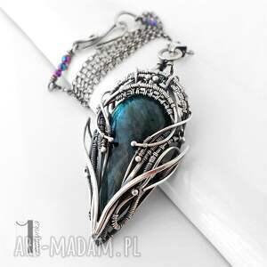 naszyjniki: Monoceros srebrny naszyjnik z labradorytem - srebro wirewrappin