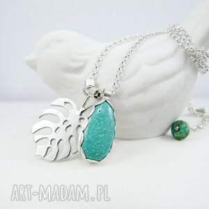 turkusowe naszyjniki boho monstera z turkusem