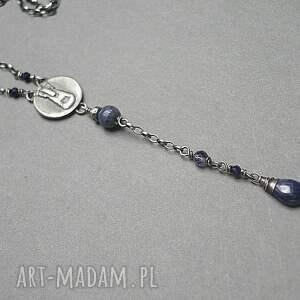 niebieskie naszyjniki srebro oksydowane montana jeans /ekler/