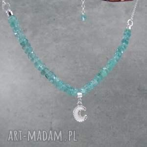 romantyczny naszyjniki turkusowe moon charm necklace with apatite
