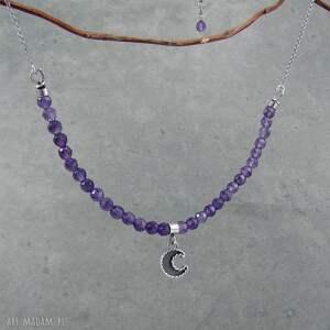 romantyczny naszyjniki fioletowe moon charm necklace with amethyst