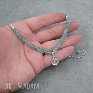 srebrne naszyjniki księżyc moon charm necklace with apatite