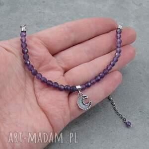 srebrne naszyjniki księżyc moon charm necklace with amethyst