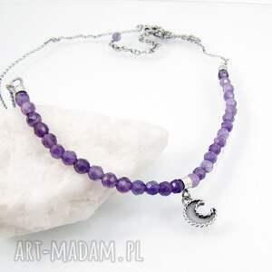 naszyjniki romantyczny moon charm necklace with amethyst