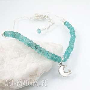 hand made naszyjniki romantyczny moon charm necklace with apatite