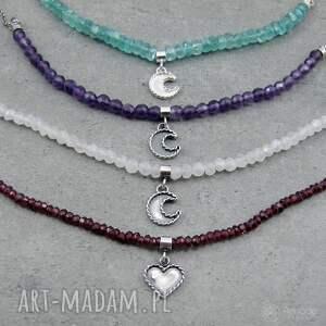 hand made naszyjniki moon charm necklace with apatite