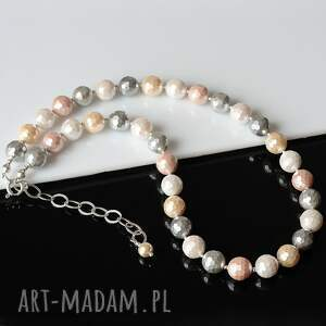 białe naszyjniki srebro elegancki, klasyczny naszyjnik wykonany