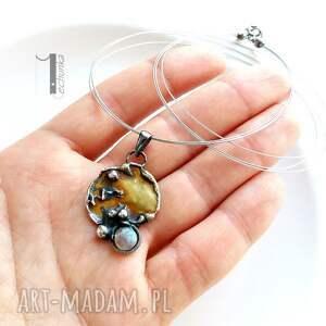 ręcznie wykonane naszyjniki surowy mymoon - naszyjnik miedź i srebro z