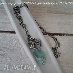 naszyjniki: na surowo naszyjnik ze szkła antycznego i srebra - surowy szkło afgańskie
