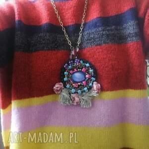 naszyjniki: naszyjnik boho haftowany koralikowy z frędzlami - vintage