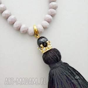 złote naszyjniki kryształki naszyjnik boho ze złotą koroną