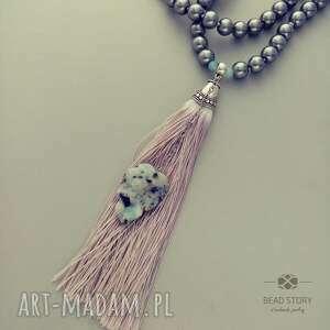 zielone naszyjniki perły naszyjnik boho w perłowej szarości