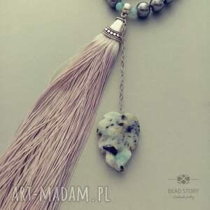 korale naszyjniki szare naszyjnik boho w perłowej szarości