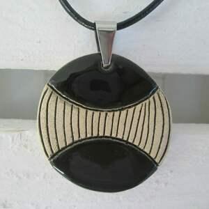 ręcznie zrobione naszyjniki ceramiczny wisiorek naszyjnik czarny