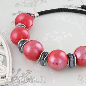 ceramika naszyjniki czerwone naszyjnik - czerwona