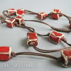 """Santin naszyjniki: Naszyjnik """"Czerwone kosteczki"""" - elegancki ceramika"""