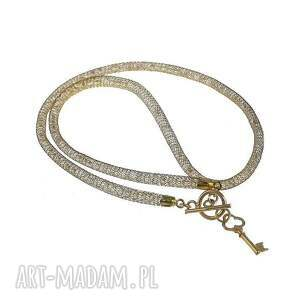 modne naszyjnik gold crystal tube & key
