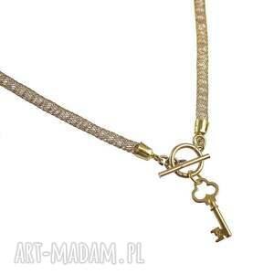 złote naszyjniki naszyjnik gold crystal tube & key