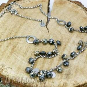 srebrne naszyjniki naszyjnik hematyt w stali