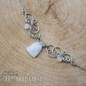 turkusowe naszyjnik kamień księżycowy, wire