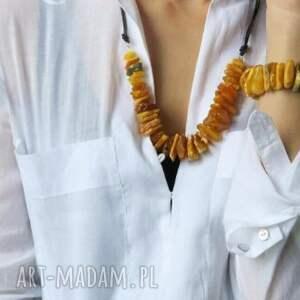 handmade naszyjniki bursztyny naszyjnik kolia z miodowego