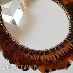 beżowe naszyjniki cyrkonie naszyjnik kółka z naturalnych piór