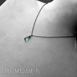 z kamieniem naszyjniki zielone naszyjnik kropla - srebro i kwarc