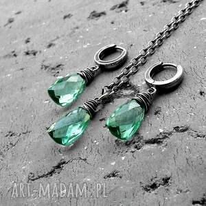 handmade oliwkowy naszyjnik kropla - srebro i kwarc