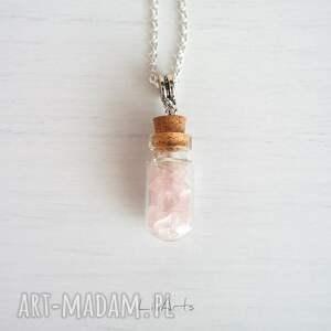 ręcznie wykonane naszyjniki naszyjnik - kwarc różowy - szklana