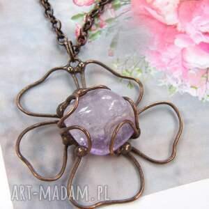 fioletowe naszyjniki ametyst naszyjnik: kwiatek z ametystem