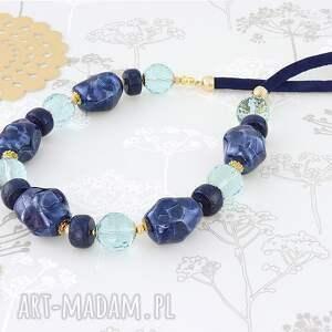 naszyjniki: naszyjnik - lapis lazuli, szkło, ceramika - z kamieni