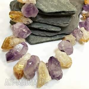 kamienie naszyjniki fioletowe naszyjnik naturalny ametyst